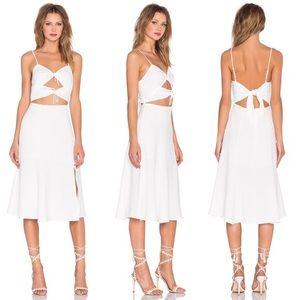 NBD white Tie Me Down cutout midi dress
